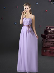 Sleeveless Lace and Appliques and Belt Lace Up Vestidos de Damas
