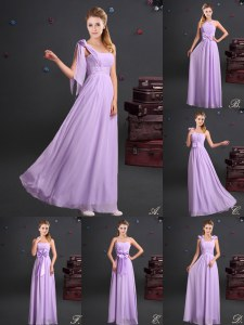 Lavender One Shoulder Zipper Ruching and Bowknot and Hand Made Flower Quinceanera Court of Honor Dress Sleeveless