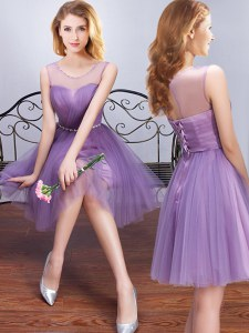 Enchanting Scoop Mini Length A-line Sleeveless Lavender Dama Dress for Quinceanera Lace Up