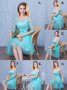Scoop Knee Length Empire Sleeveless Aqua Blue Quinceanera Court Dresses Lace Up
