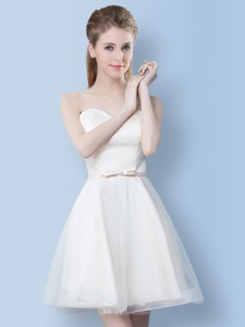Cheap White Lace Up Bridesmaid Dresses Bowknot Sleeveless Knee Length