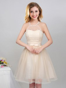 Champagne A-line Tulle Halter Top Sleeveless Lace and Appliques and Belt Mini Length Lace Up Bridesmaids Dress