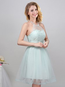 Mini Length Apple Green Court Dresses for Sweet 16 Halter Top Sleeveless Lace Up