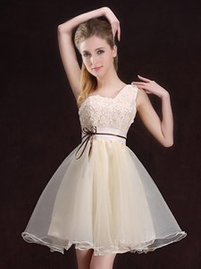 One Shoulder Appliques and Belt Bridesmaid Dress Champagne Lace Up Sleeveless Mini Length