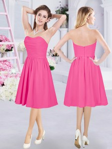 Classical Hot Pink Zipper Bridesmaid Gown Ruching Sleeveless Knee Length