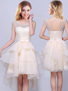 Lovely Scoop Sleeveless Lace Up Quinceanera Dama Dress Champagne Organza