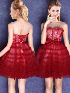Chic Wine Red Tulle Lace Up Scoop Sleeveless Mini Length Quinceanera Dama Dress Lace and Bowknot