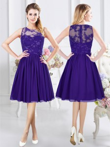 Best Selling Scoop Sleeveless Bridesmaid Gown Knee Length Lace Purple Chiffon