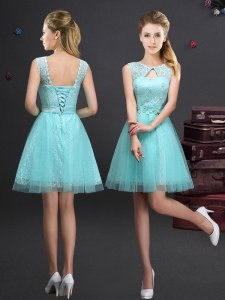 Mini Length Aqua Blue Vestidos de Damas Scoop Sleeveless Lace Up