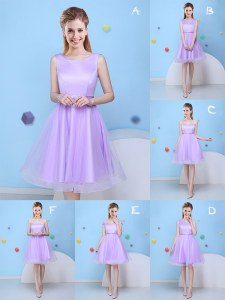 Fantastic Scoop Tulle Sleeveless Knee Length Quinceanera Court of Honor Dress and Bowknot
