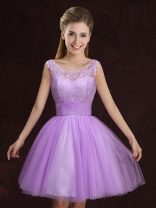 Sophisticated Lilac A-line Scoop Sleeveless Tulle Mini Length Lace Up Lace and Ruching Bridesmaid Dresses