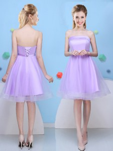 Lavender Lace Up Strapless Bowknot Bridesmaid Dress Tulle Sleeveless