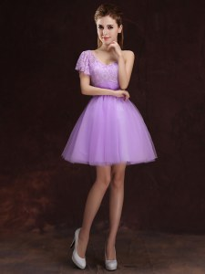 Adorable One Shoulder Lace and Ruching Bridesmaids Dress Lilac Lace Up Sleeveless Mini Length