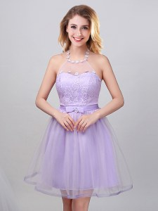 Halter Top Sleeveless Quinceanera Court of Honor Dress Mini Length Lace and Appliques and Belt Lavender Tulle