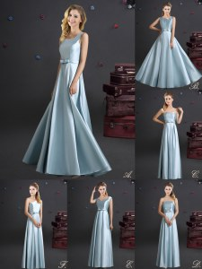 High End Square Sleeveless Zipper Floor Length Bowknot Wedding Guest Dresses