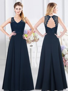 Low Price Sleeveless Backless Floor Length Lace and Ruching Damas Dress