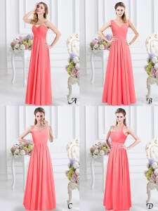 Watermelon Red Sleeveless Chiffon Zipper Quinceanera Dama Dress for Prom and Party and Wedding Party