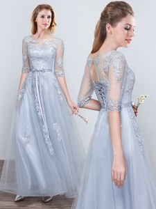 Scoop Short Sleeves Grey Lace Up Damas Dress Appliques and Belt Half Sleeves Floor Length