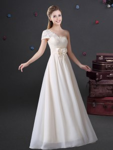 Latest One Shoulder Sleeveless Chiffon Floor Length Zipper Wedding Party Dress in White with Lace and Bowknot