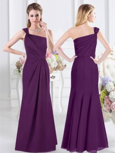 Latest One Shoulder Sleeveless Floor Length Ruching Side Zipper Bridesmaid Gown with Purple