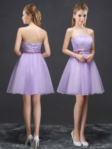 Lavender Sleeveless Lace and Belt Mini Length Vestidos de Damas