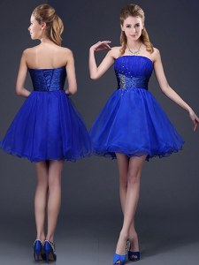 Royal Blue A-line Organza Strapless Sleeveless Beading and Ruching Mini Length Lace Up Court Dresses for Sweet 16