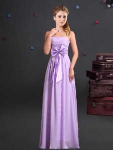 Ruching and Bowknot Quinceanera Court Dresses Lavender Zipper Sleeveless Floor Length
