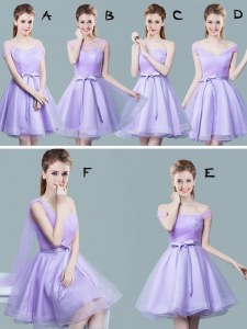 Straps Ruching and Bowknot Bridesmaids Dress Lavender Zipper Cap Sleeves Knee Length