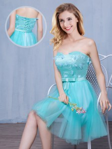 Discount Aqua Blue Sweetheart Neckline Lace and Appliques and Bowknot Damas Dress Sleeveless Lace Up