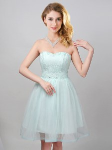 Stunning Sleeveless Tulle Mini Length Lace Up Vestidos de Damas in Apple Green with Lace and Appliques