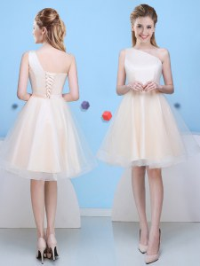 One Shoulder Sleeveless Tulle Bridesmaids Dress Bowknot Lace Up