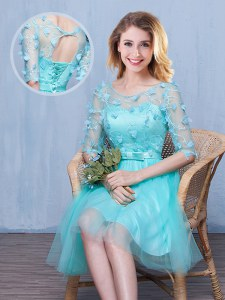 Glittering Knee Length Aqua Blue Dama Dress for Quinceanera Scoop Half Sleeves Lace Up