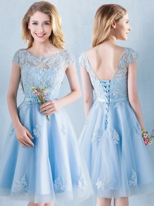 Superior Knee Length Light Blue Court Dresses for Sweet 16 Scoop Short Sleeves Lace Up