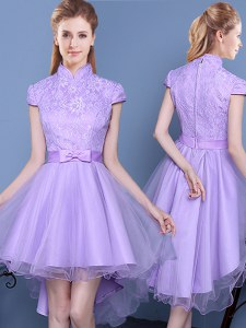 Lavender High-neck Neckline Lace and Bowknot and Belt Wedding Guest Dresses Short Sleeves Zipper