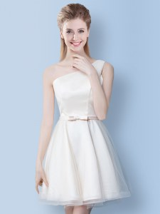 White One Shoulder Neckline Bowknot Bridesmaid Dress Sleeveless Lace Up