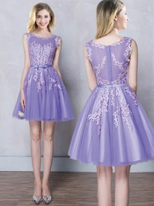 Amazing Scoop Mini Length A-line Sleeveless Lavender Damas Dress Zipper