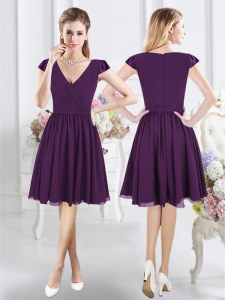 Clearance Chiffon V-neck Cap Sleeves Zipper Ruching Bridesmaids Dress in Purple