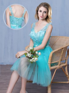 Sleeveless Lace and Appliques and Bowknot Lace Up Damas Dress