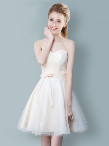 Elegant Champagne Zipper Sweetheart Ruching and Bowknot Bridesmaids Dress Tulle Sleeveless