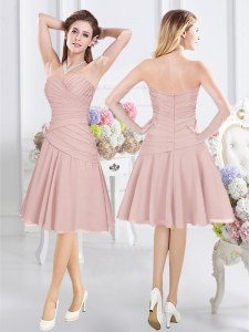 Knee Length Pink Bridesmaid Dresses Chiffon Sleeveless Ruching