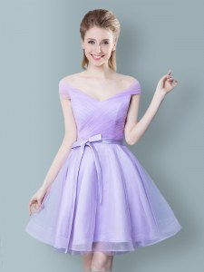Lavender V-neck Neckline Ruching and Bowknot Dama Dress Cap Sleeves Zipper