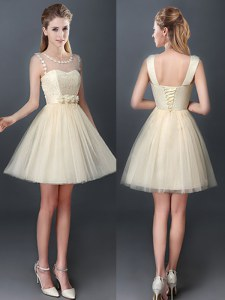 Graceful Scoop Sleeveless Tulle Dama Dress for Quinceanera Lace and Hand Made Flower Lace Up