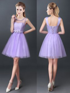 Scoop Lavender Sleeveless Lace Mini Length Bridesmaid Dresses