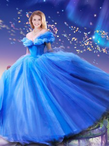Cinderella Off the Shoulder Sleeveless Lace Up Floor Length Beading and Bowknot Sweet 16 Dresses