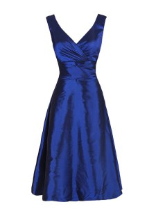 Navy Blue Sleeveless Knee Length Sashes ribbons Zipper Prom Party Dress