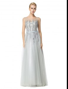 Traditional Floor Length Silver Prom Gown Scoop Sleeveless Zipper