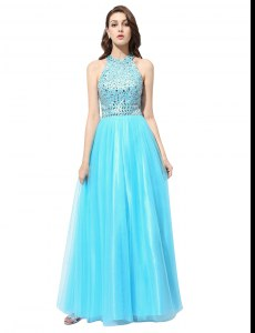 Romantic Scoop Aqua Blue Sleeveless Beading Floor Length Junior Homecoming Dress