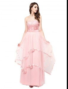 Sleeveless Organza Floor Length Zipper in Baby Pink with Lace