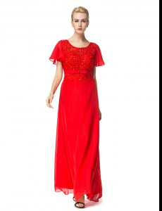 Red Empire Chiffon Scoop Short Sleeves Beading and Appliques Floor Length Backless Prom Evening Gown