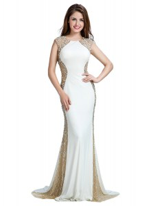Chic Scoop With Train White Homecoming Dress Chiffon Brush Train Sleeveless Beading